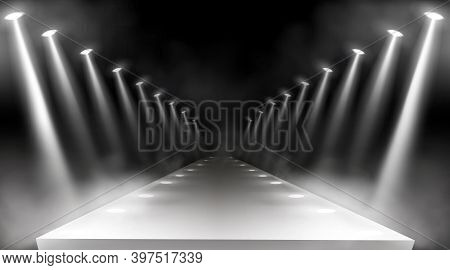 Spotlights Background, Glowing Stage Lights, White Beams For Red Carpet Award Or Gala Concert. Empty