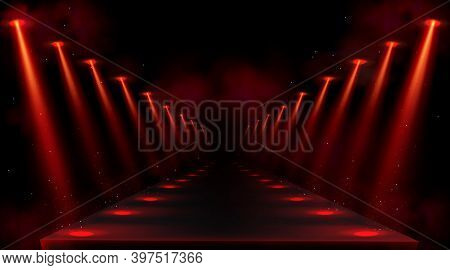 Podium Illuminated By Red Spotlights. Empty Platform Or Stage With Beams Of Lamps And Spots Of Light