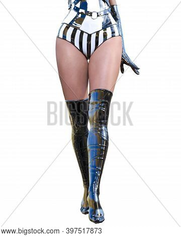 Beautiful Sexy Woman Legs In Latex Corset And Stocking.