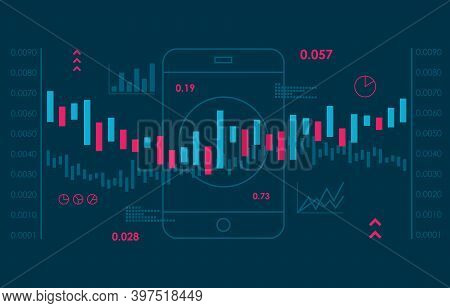 Business Candlestick Chart Of Stock Market Investment Trading. Business And Trading Concept. Cartoon