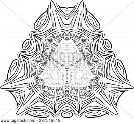 Mandala Isolated On White Background. Abstract Pattern Vector Illustration. Retro Black And White Te
