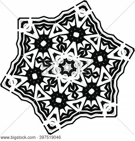 Mandala. Black And White Pattern. Vintage Decorative Elements. Hand Drawn Background. Arabic, Islam,