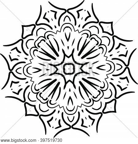 Mandala For Greeting Card, Case Print, Etc. Abstract Pattern. Diwali Pattern Black And White. Vector