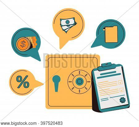 Bank Safe With Secured Money And Valuables In Security Flat Tiny Persons Concept. Financial Protecti