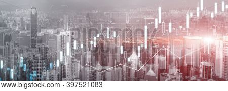 Stock Trading, Investment, Candle Stock Market Chart Diagram Website Header Banner City View Skyline