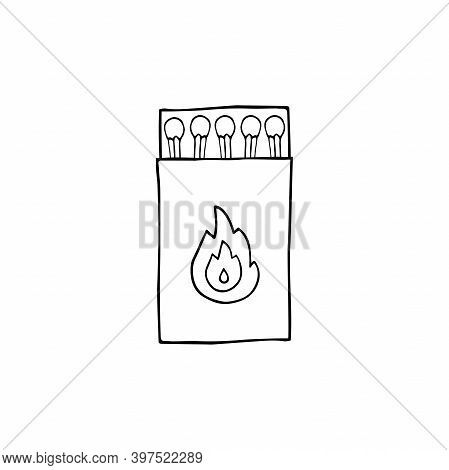Doodle Vector Safety Matches Box. Wooden New Match Sticks Container Isolated On White Background. Mi