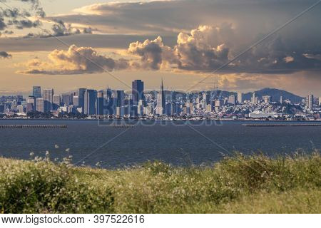 View of storm clouds and downtown San Francisco in scenic California.
