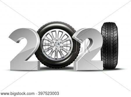 New Year Numbers 2021 With Car Tire Isolated On White Background.