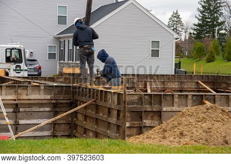 Injection Of Concrete Foundation Metal Mixed Dirt