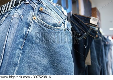 Denim Pants Hang On Retail Store Display