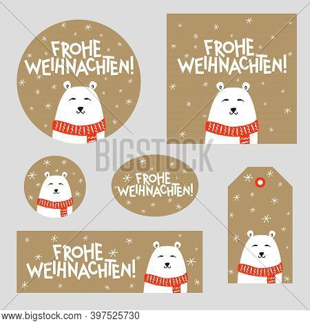 Set Of Christmas Decor With Polar Bear For Germany. German Merry Christmas Poster, Card, Sticker, Ta