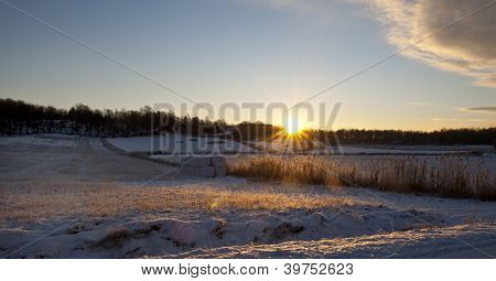 Winter Sun Rising Over Agriculture Landscape