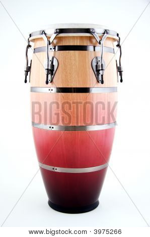 Brown And Red Wood Conga Drum Isolated On White
