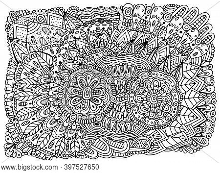 Floral Mandala Ornament With Flowers And Leaves. Doodle Ornated Coloring Page For Adults. Abstract T