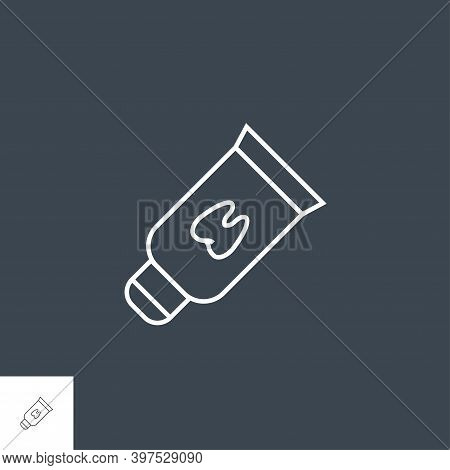 Tooth Paste Tube Line Icon. Tooth Paste Tube Line Irelated Vector Line Icon. Isolated On Black Backg