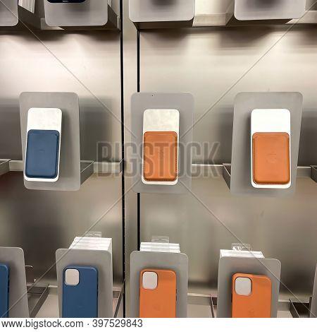 Orlando, Fl Usa-november 20, 2020: An Apple Store Display Of Colorful Iphone Magsafe Wallets.