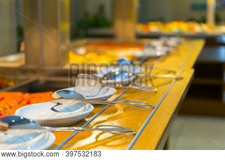 Served Crockery Ready For Use Close Up View.