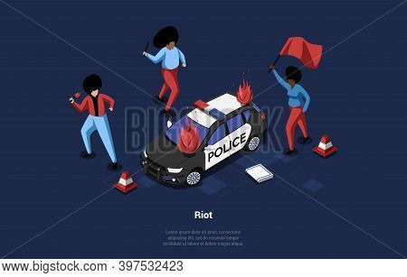 Vector Conceptual Art On People Riot Idea. 3d Isometric Illustration In Cartoon Style With Writings.