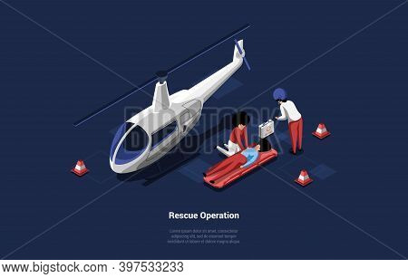 Emegrency Healthcare Rescue Operation Of Person Lying On Ground. Vector Illustration In Cartoon 3d S