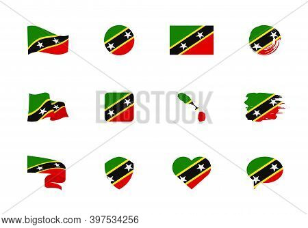 Saint Kitts And Nevis Flag - Flat Collection. Flags Of Different Shaped Twelve Flat Icons.