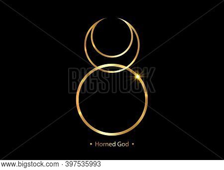 Horned God Gold Wiccan Icon. God Of Nature, Wilderness, Sexuality, Hunting. Wicca Deities Symbol Con