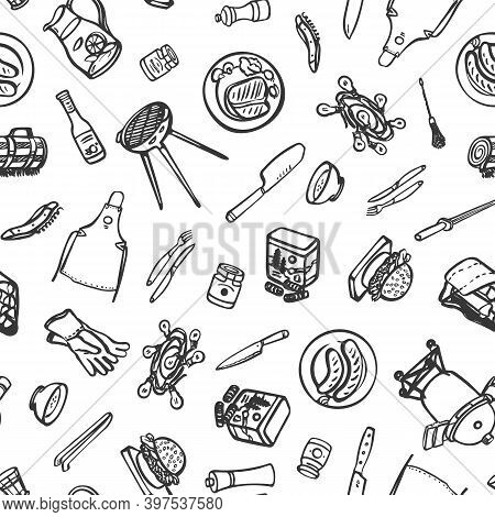 Summer Barbecue Garden Party. Seamless Vector Repeat Background. Brush Pen Design. Kitchen Tools. Fo