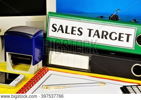 Sales Target. The Inscription On The Folder Office Of The Registrar. Long-term Vision Of Future Acti