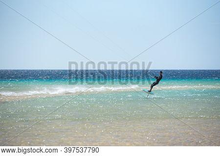 Fuerteventura, Spain : 2020 October 2 : Men In The Pratic Foilboard In The Sotovento On Fuerteventur