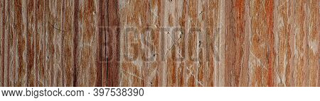 Panorama Of An Old Scratched Wood Surface. Wooden Board Close Up.