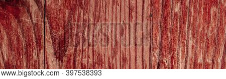 Panorama Of An Old Painted Shabby Wood Surface. Wooden Board Close-up.