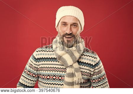 Winter Fashion Trends For Mature Adult. Mature Man Red Background. Mature Person In Cold Weather Fas
