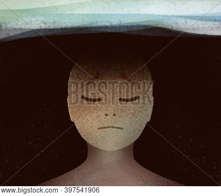 An Abstract Illustration Of A Person Immersed In Dark Thoughts, Depression, Despair Or A Difficult L