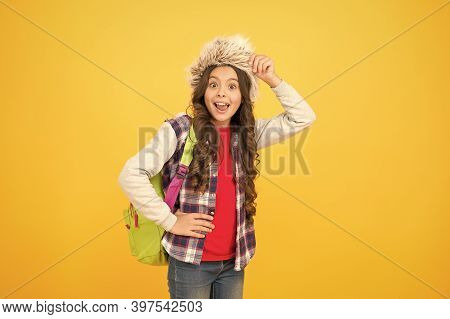 Kid Girl Wear Hat With Ear Flaps. Winter Vacation. Submit Learning Goals Reflections For Semester. W