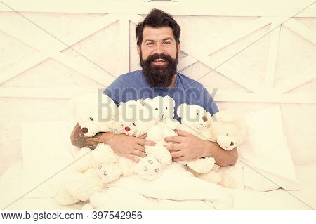 Handsome Hipster Hold Lovely Bear Toy. Happy Valentines Day. Present For Partner. Toys Shop Concept.