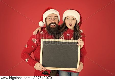 Surprise Ahead. Surprised Family Hold Blank Background. Little Girl And Bearded Man Prepare Surprise