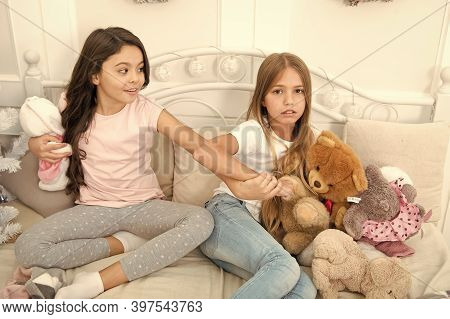 Toys Shop. Cute Soft Toys. Generosity And Greediness. Give It To Me. Kids Play Toys Bed. Little Girl