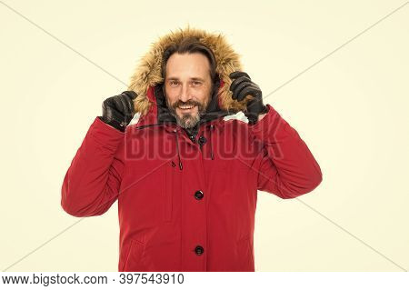 Feeling Protected. Mature Man In Cold Winter Weather Style. Man Enjoying Warmth And Comfort. Casual