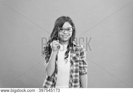 Hey Just Have Fun. Funny Small Girl Holding Glasses Photo Booth Props On Stick. Cute Kid With Fancy