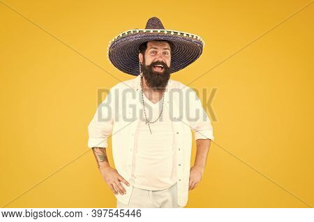 Explore Mexican Culture. Celebrate Traditional Holiday. Happy Man Sombrero Souvenir Straw Hat. Plan