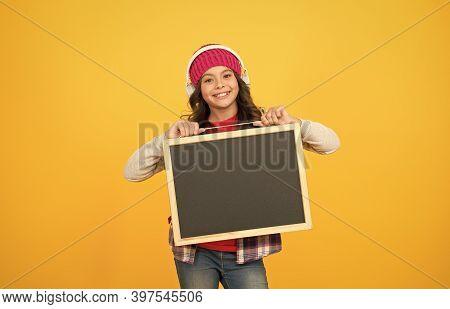 Lesson In Music. Happy Child Hold School Blackboard. Little Girl Listen To Music. Music Education. M
