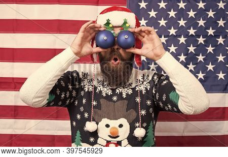 Im Watching You. Bearded Man Look Through Funny Eye Glasses. Funny Sight. Funny Santa On Stars And S