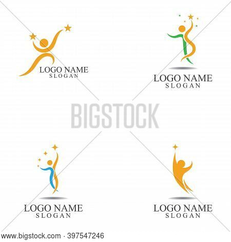 Set Of  Human People Success People Care Logo And Symbol Template