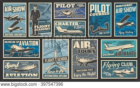 Plane Flying And Aircraft Flight, Aviation Vintage Retro Retro Posters, Vector. Airplane Aviators Ac