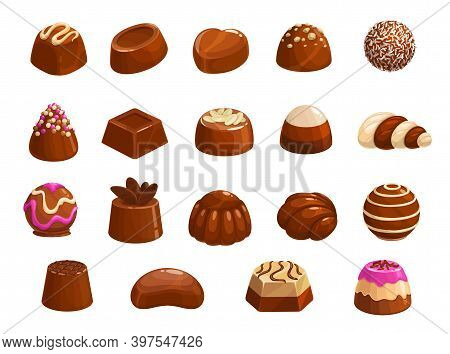 Chocolate Candies Vector Icons. Sweet Desserts, Choco Candies With Praline, Nuts Or Cocoa Topping, C