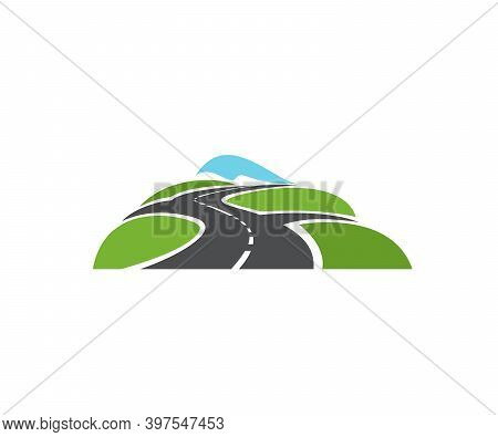 Speed Highway, Roads Intersection Icon. Freeway Crossroad, Asphalt Motorway, And Driveway With Two R