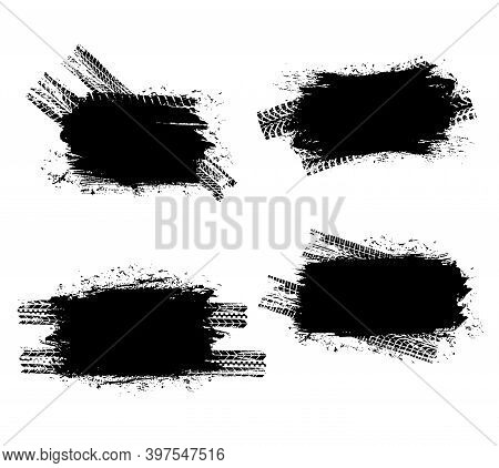 Tire Prints Black Spots, Car Tyre Tracks Isolated Grunge Dirty Vector Marks. Offroad Vehicle Wheels