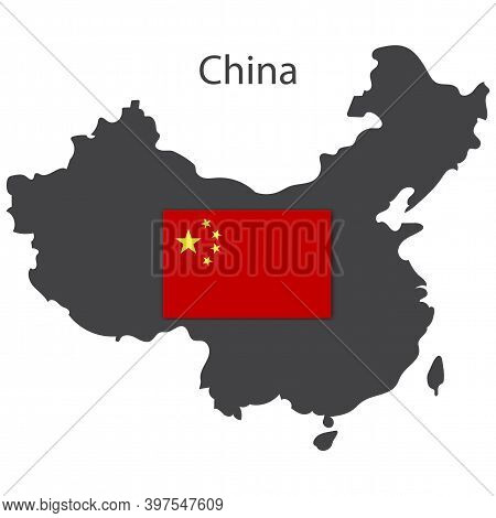 Wuhan, China. Black Silhouette Icon. China Map With Flag, Great Design For Any Purposes. Stock Image