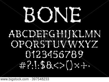Bones Font, Halloween Vector Type, Uppercase Alphabet Letters, Digits And Symbols. Skeleton Pirate S