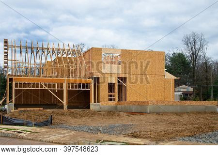 Rafters And Frame Of A Plywood House Structure New
