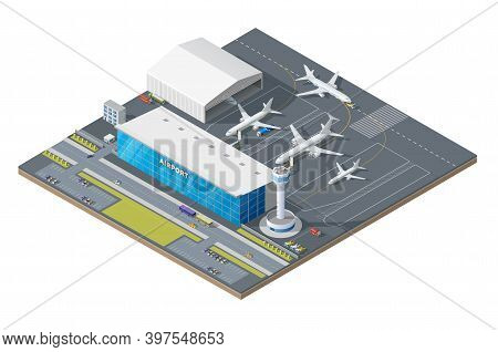 Isometric Airport Building With Airplanes On Runway And Traffic Control Tower. 3d Vector Passenger T